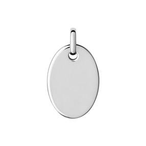 Narrative sterling silver oval disc pendant-