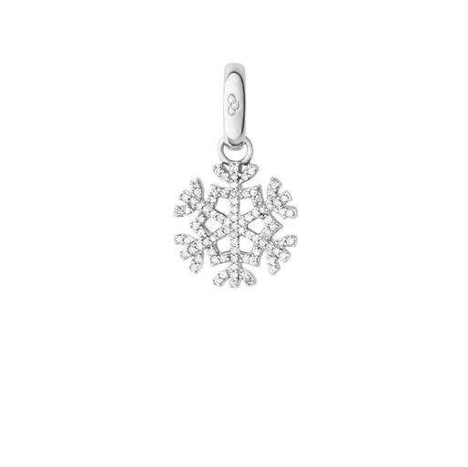 Charm Ασημένιο νιφάδα χιονιού με διαμάντια-