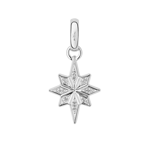 Charm Ασημένιο Χριστουγεννιάτικο Αστέρι με διαμάντια-