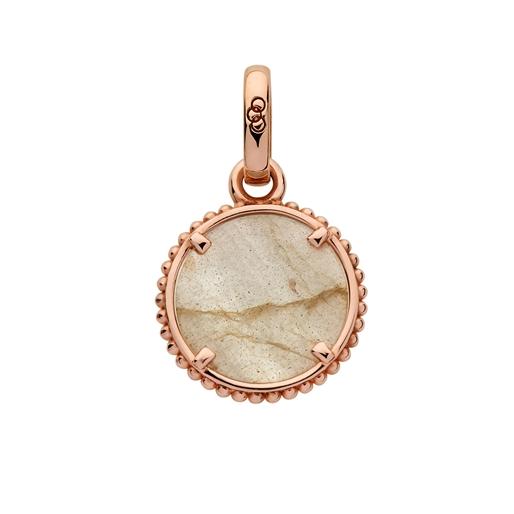 Amulet Charm από ασήμι με ροζ επιχρύσωση 18 καρατίων και ημιπολύτιμο λίθο-