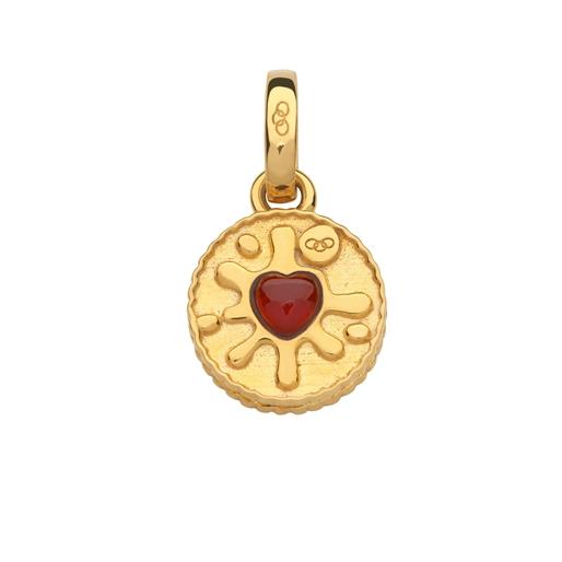 18kt Yellow Gold Vermeil & Garnet Jam Ring Charm-