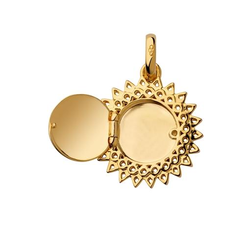 18kt Yellow Gold Vermeil Sun Locket Pendant-