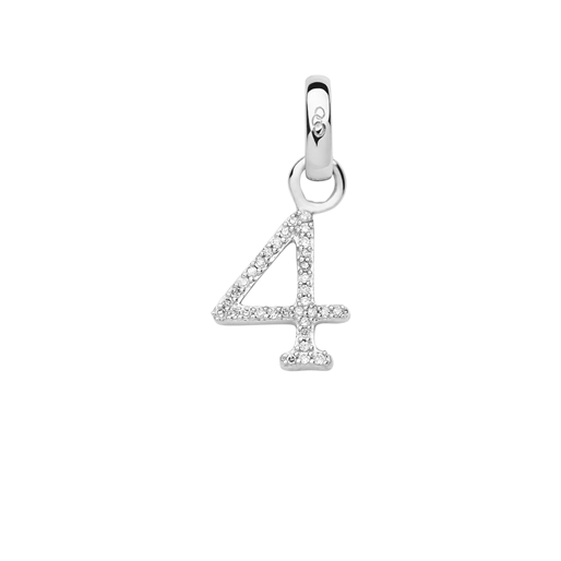 Sterling Silver & Diamond Number 4 Charm-