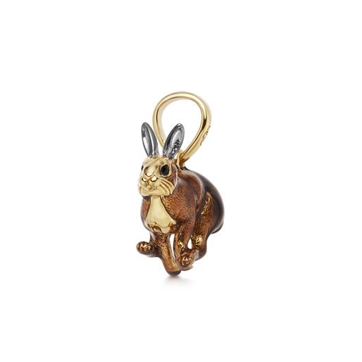 Brown Hare charm από ασήμι με επιχρύσωση 18 καρατίων και σμάλτο-