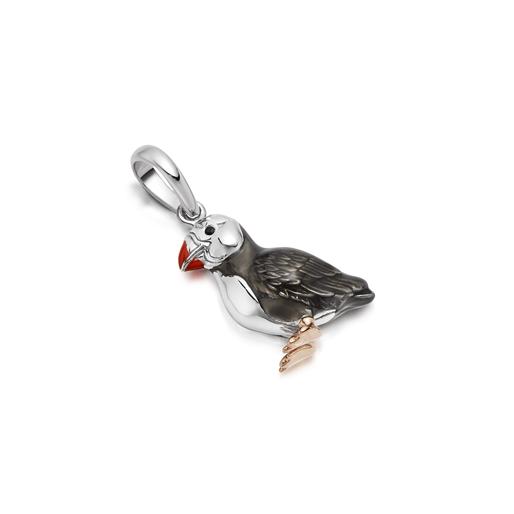Atlantic puffin Charm από ασήμι με επιχρύσωση 18 καρατίων και σμάλτο-
