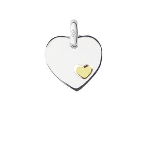 Charm καρδιά από ασήμι και χρυσό 18 καρατίων-