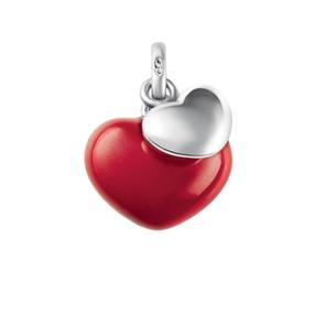 Charm Δύο Καρδιές από ασήμι-