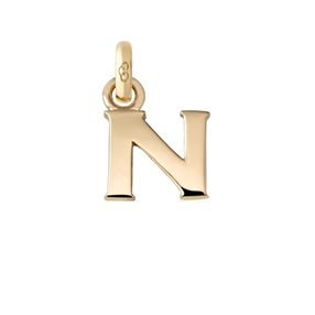 18kt Yellow Gold N Letter Charm-