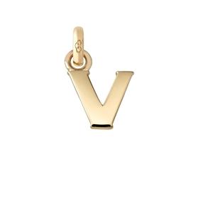 Χρυσό Charm 18 καρατίων με το γράμμα V-