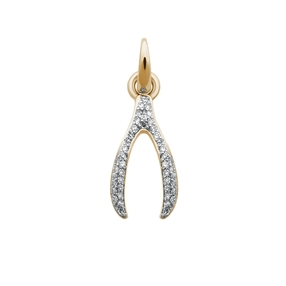 18kt Yellow Gold & Diamond Wishbone Charm-