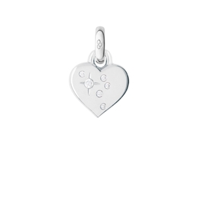 Charm Καρδιά από λευκό χρυσό 18 καρατίων με διαμάντια-