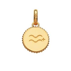 18kt Yellow Gold Vermeil Aquarius Zodiac Charm-