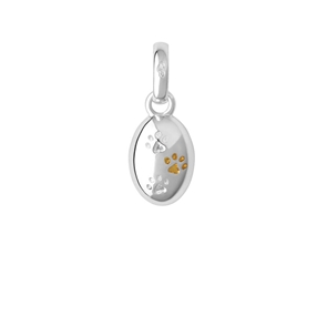 Sterling Silver & 18kt Yellow Gold Vermeil Paw Print Charm-