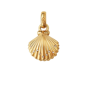 18kt Yellow Gold, Diamond & Pearl Clam Shell Charm-