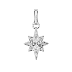 Sterling Silver & Diamond Pave Christmas Star Charm-