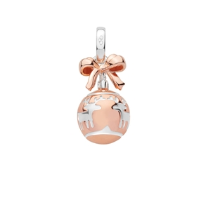 Sterling Silver & 18K Rose Gold Vermeil Reindeer Bauble Charm-