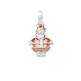 Sterling Silver & 18K Rose Gold Vermeil Santa Claus Bauble Charm-