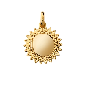 18kt Yellow Gold Vermeil Sun Locket Pendant-