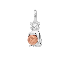 Sterling Silver & Rose Gold Vermeil Larry the Cat Charm-