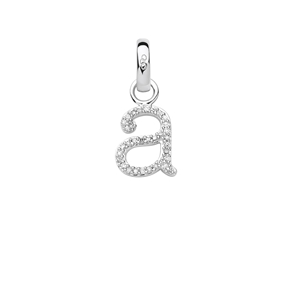 Sterling Silver & Diamond Letter A Alphabet Charm-