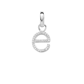 Sterling Silver & Diamond Letter E Alphabet Charm-