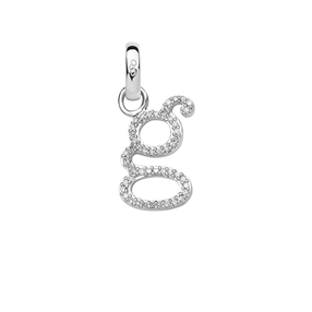 Sterling Silver & Diamond Letter G Alphabet Charm-