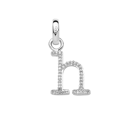 Sterling Silver & Diamond Letter H Alphabet Charm-
