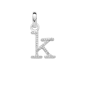 Sterling Silver & Diamond Letter K Alphabet Charm-