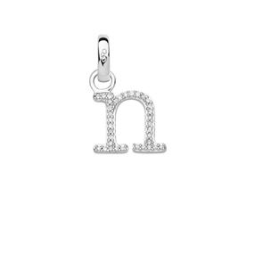 Sterling Silver & Diamond Letter N Alphabet Charm-