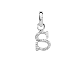 Sterling Silver & Diamond Letter S Alphabet Charm-