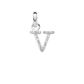 Charm Ασημένιο με Διαμάντια - V-