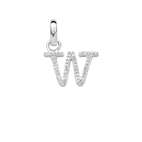 Sterling Silver & Diamond Letter W Alphabet Charm-