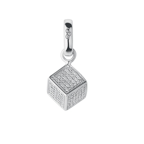 Sterling Silver & Diamond Sugar Cube Charm-