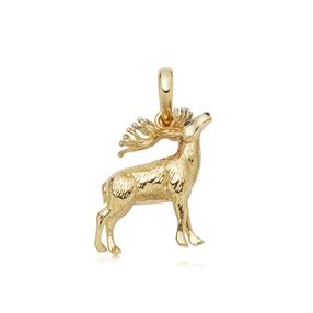 Red Deer Stag Charm από ασήμι με επιχρύσωση 18 καρατίων-