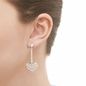 Dream Catcher Ασημένια κρεμαστά σκουλαρίκια σε σχήμα καρδιάς-