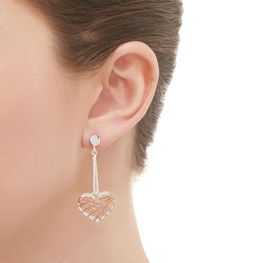 Dream Catcher ασημένια κρεμαστά σκουλαρίκια με ροζ επιχρύσωση 18 καρατίων-