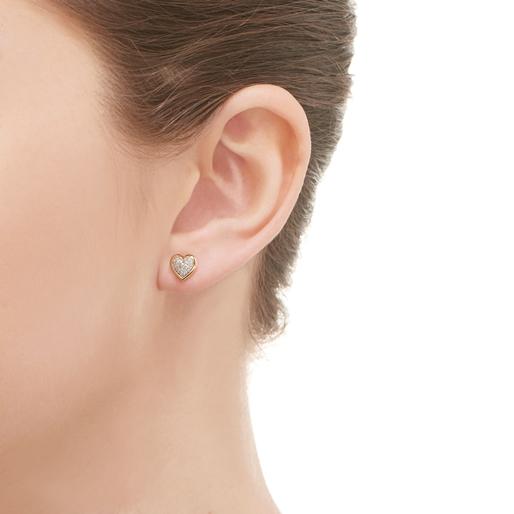 Diamond Essentials σκουλαρίκια με ροζ επιχρύσωση 18 καρατίων και διαμάντια-