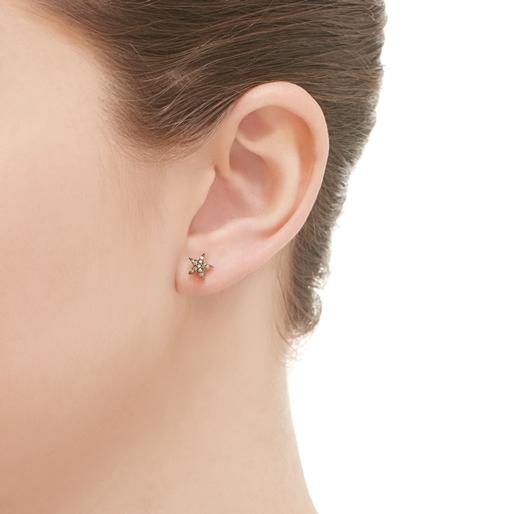Diamond Essentials σκουλαρίκια με ροζ επιχρύσωση και διαμάντια στο χρώμα της σαμπάνιας-
