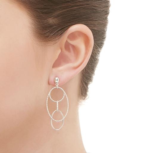 Aurora Ασημένια Κρεμαστά σκουλαρίκια-