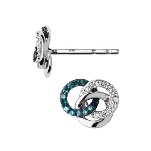 Treasured σκουλαρίκια από ασήμι με διαμάντια-