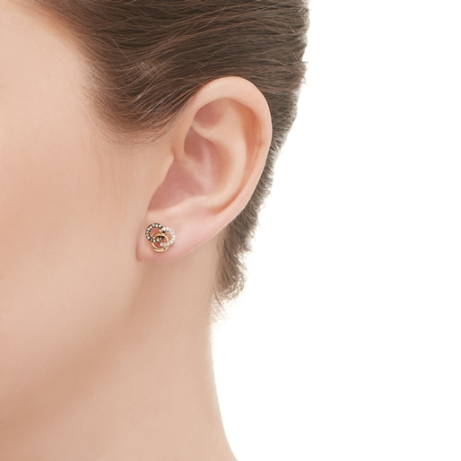 Treasured σκουλαρίκια με επιχρύσωση 18 καρατίων και διαμάντια-