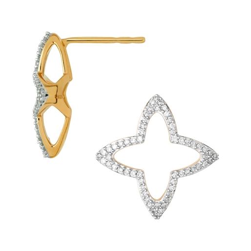 Splendour Ασημένια σκουλαρίκια με επιχρύσωση 18 καρατίων και διαμάντια-