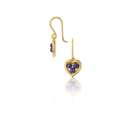 Open Heart Ασημένια Σκουλαρίκια με επιχρύσωση 18 καρατίων Lapis Lazuli και διαμάντια-