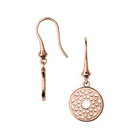 Timeless Ασημένια μικρά κρεμαστά σκουλαρίκια με ροζ επιχρύσωση 18 καρατίων-