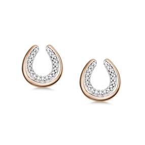 Ascot Diamond Essentials Ασημένια σκουλαρίκια με ροζ επιχρύσωση 18 καρατίων και διαμάντια-