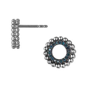 Effervescence Sterling Silver & Blue Diamond Stud Earrings-