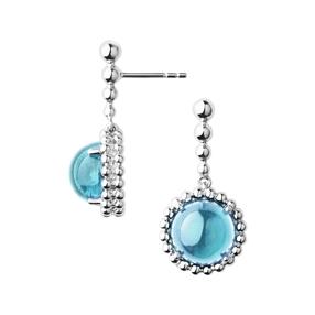 Effervescence Gems Ασημένια Σκουλαρίκια με μπλε τόπαζ-
