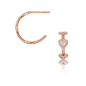 Diamond Heart Κρίκοι από χρυσό 14 καρατίων και διαμάντια-