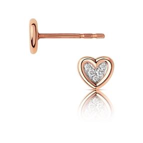 Diamond Heart Μονό Σκουλαρίκι από χρυσό 14 καρατίων και διαμάντια-