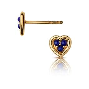 Open Heart Ασημένια Σκουλαρίκια με επιχρύσωση 18 καρατίων και Lapis Lazuli-